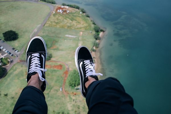 skydiving feet shot